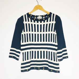 ST. JOHN Sport Grommet Knit Sweater Nautical